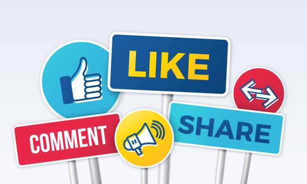 Social media marketing sharing like signs.